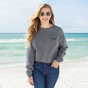 Cropped Crew Sweatshirt Embroidered Beach Happy