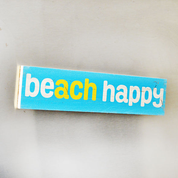 Beach Happy Wooden Magnet