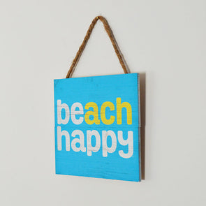 Beach Happy Wooden Rope Sign