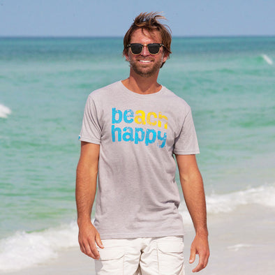 Beach Happy® Recycled Crew Neck Tee Grey  Light Blue