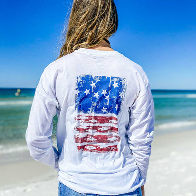 Beachy Fish Flag Long Sleeve Recycled Tee