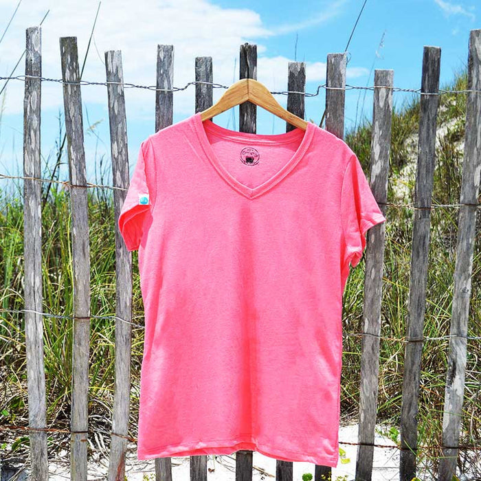 women's solid (no design) v-neck recycled shirt