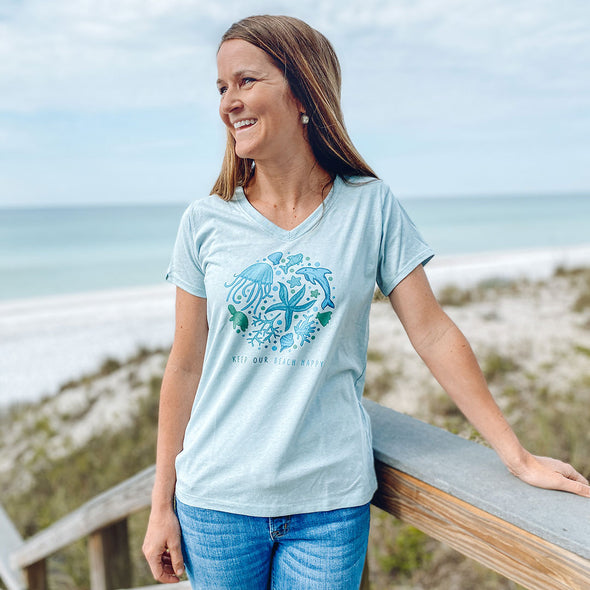 Keep Our Beach Happy Recycled V-Neck