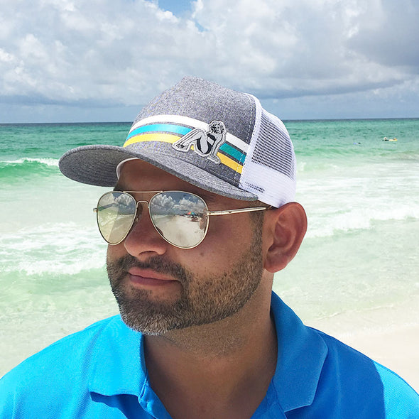 Retro Stripe 30A Beach Blonde Ale Trucker Hat