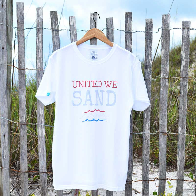 united we sand unisex shirt made from recycled plastic bottles
