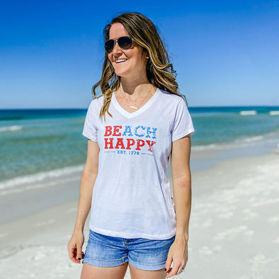 USA Beach Happy Recycled V-Neck