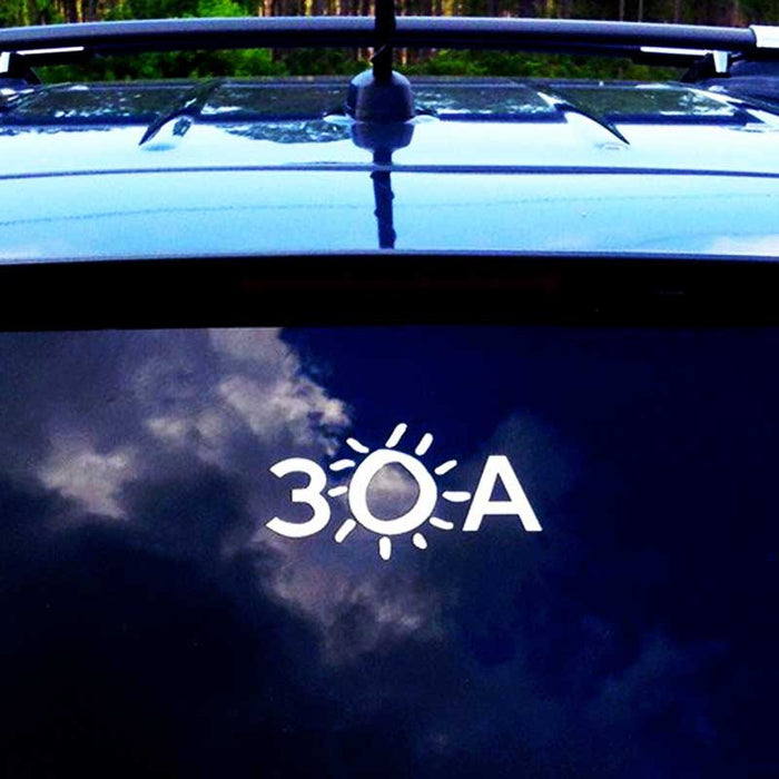 30A White Vinyl Sticker