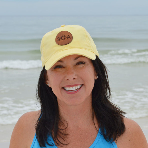 30A Yellow Leather Patch Hat