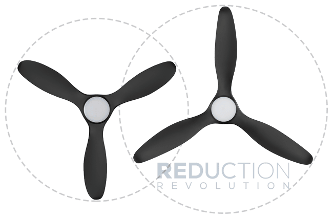 "Modern Black Ceiling Fan 52"" vs 60"" Size"