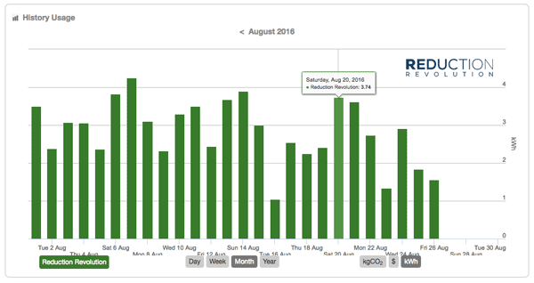Daily electricity usage totals