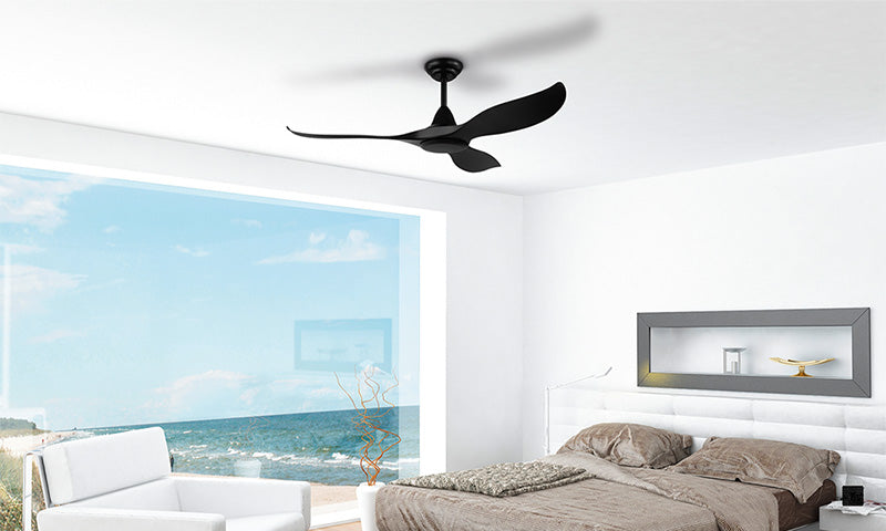 Black DC ceiling fan with remote