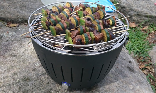 Vegetable Skewers on Charcoal BBQ
