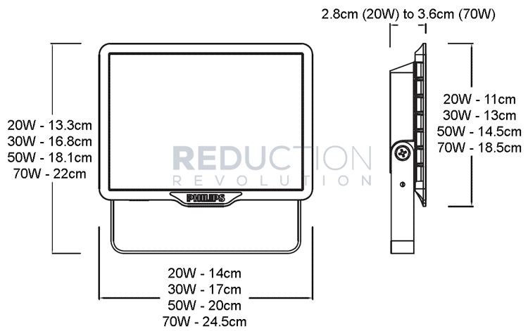 Outdoor Floodlight Dimensions