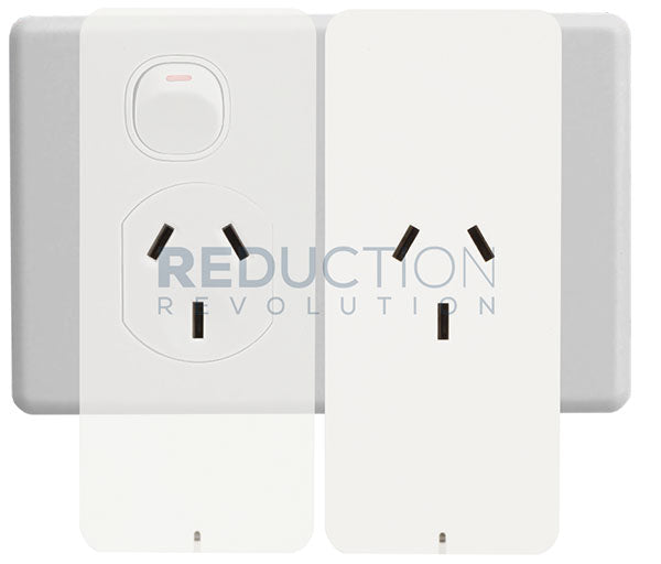 Powertech Smart Plug shown with 2 units connected to a general purpose outlet (GPO)
