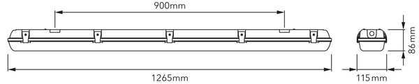 Verbatim Twin T8 Batten for LED dimensions