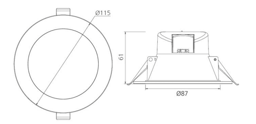 LED Downlight Dimensions