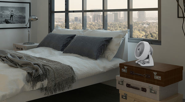 Vornado Desk Fan on Bedside Table