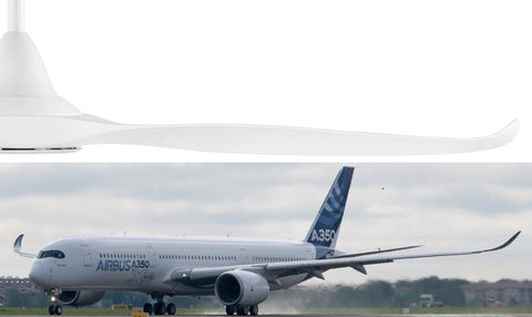Ceiling Fan Winglet compared to Airbus A350-1000 XWB jet