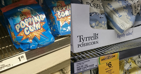 popping corn kernels verses pre-popped poshcorn popcorn on supermarket shelf