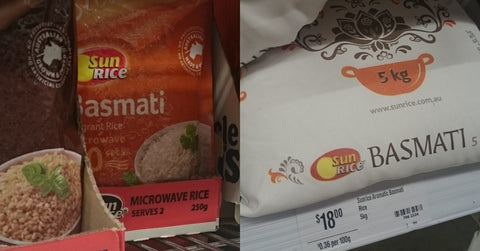 Sun Rice Basmati rice, pre-cooked microwave verses uncooked 5kg bag.