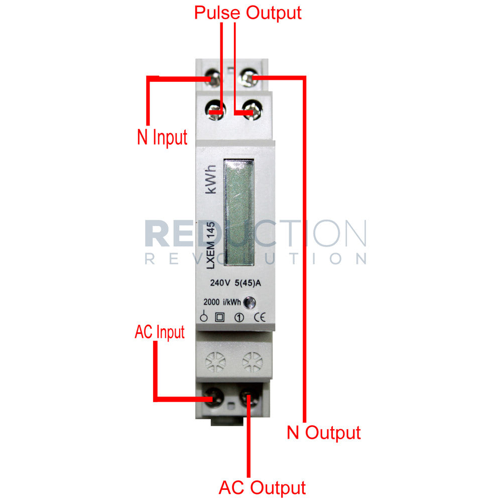 single phase electricity kwh sub meter 45 amp rh reductionrevolution com au 1 phase energy meter circuit diagram single phase energy meter connection diagram