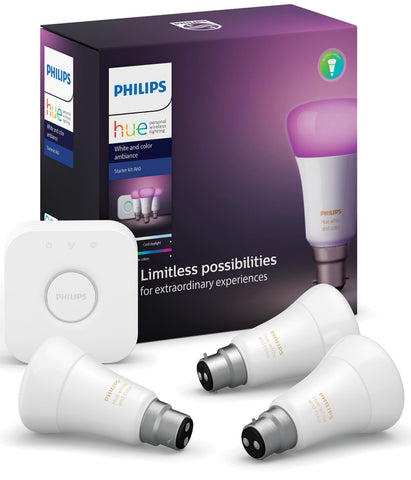 Philips Hue B22 Bulb Starter Kit - White & Colour