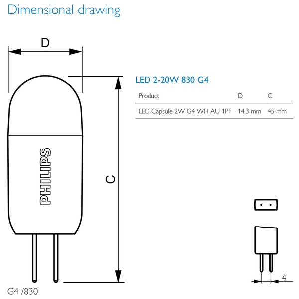 Philips G4 Led Capsule 2w 12v Corepro Low Voltage Lamp