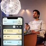 Use the Hue App to control lights from your phone and tune colour temperature with White Ambiance Bulbs