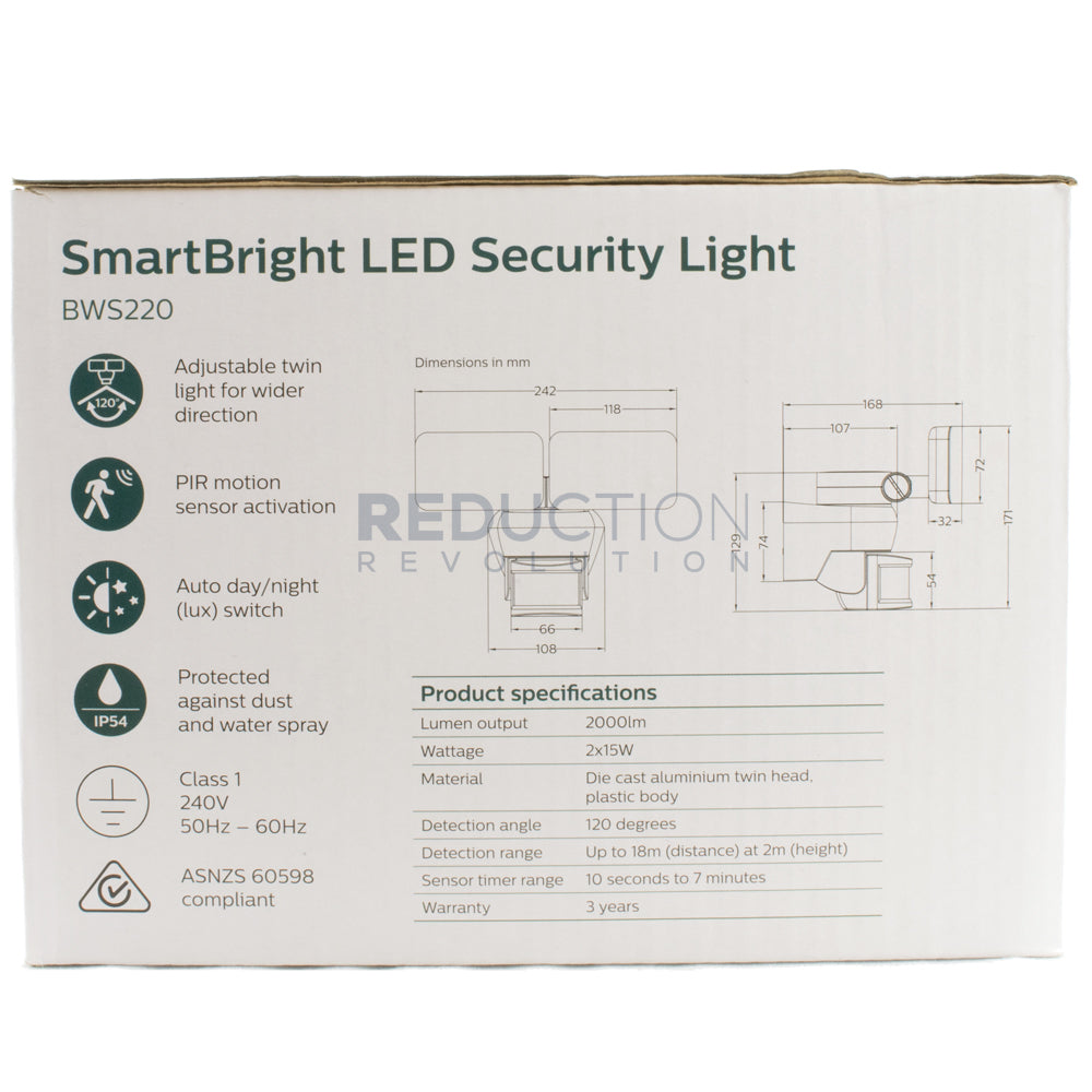 Philips Smartbright Led Motion Sensor Security Light 2 X 15w Have Replaced An Outside Pir Twin Lights