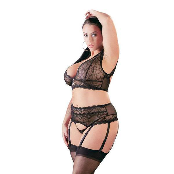 Cottelli Plus Size Bralette and String Set Black