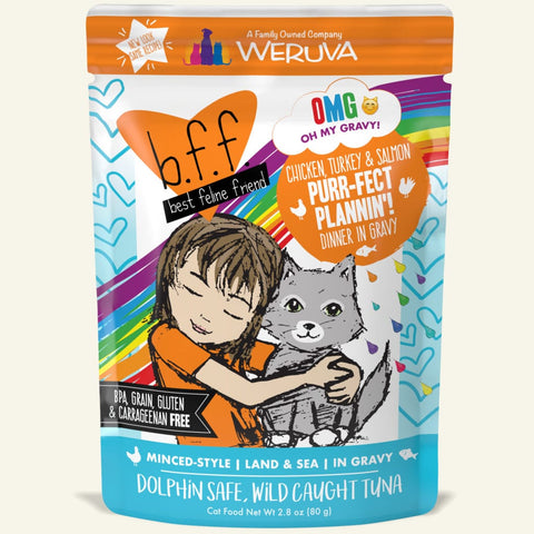 Weruva BFF Oh My Gravy Purr-Fect Plannin Grain Free Chicken, Tuna and Salmon in Gravy Wet Cat Food Pouch