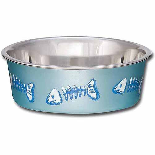 Loving Pets The Bella Bowl Designer – Fish Bones Metallic Ocean Blue