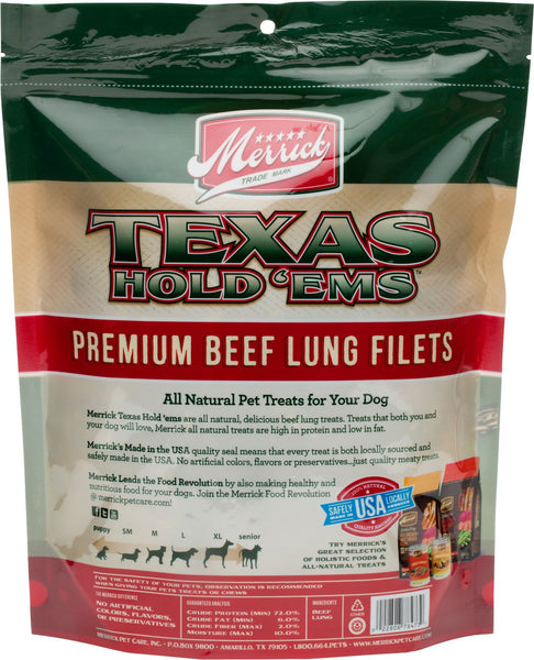 Merrick Texas Hold'ems Premium Beef Lung Filets Dog Treats