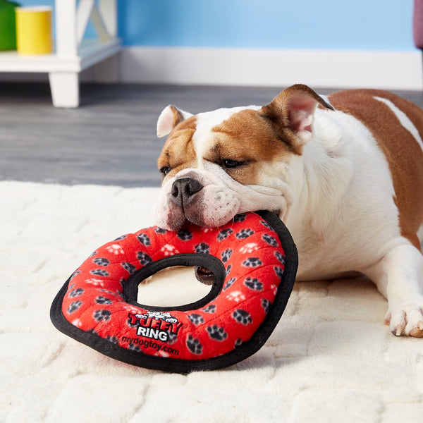 Tuffy Ultimate Ring Red Paws Dog Toy