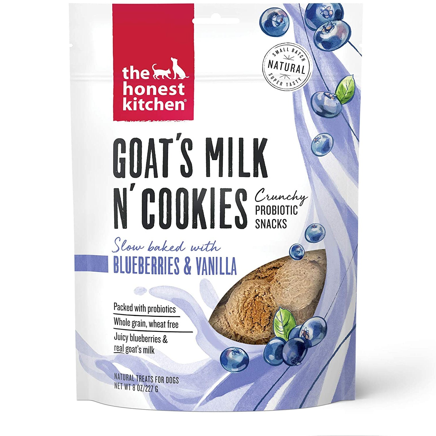 The Honest Kitchen Crunchy Goat's Milk n' Cookies Probiotic Dog Treats - Slow Baked With Blueberries & Vanilla