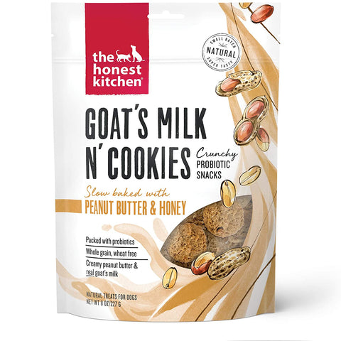 The Honest Kitchen Crunchy Goat's Milk n' Cookies Probiotic Dog Treats - Slow Baked with Peanut Butter & Honey