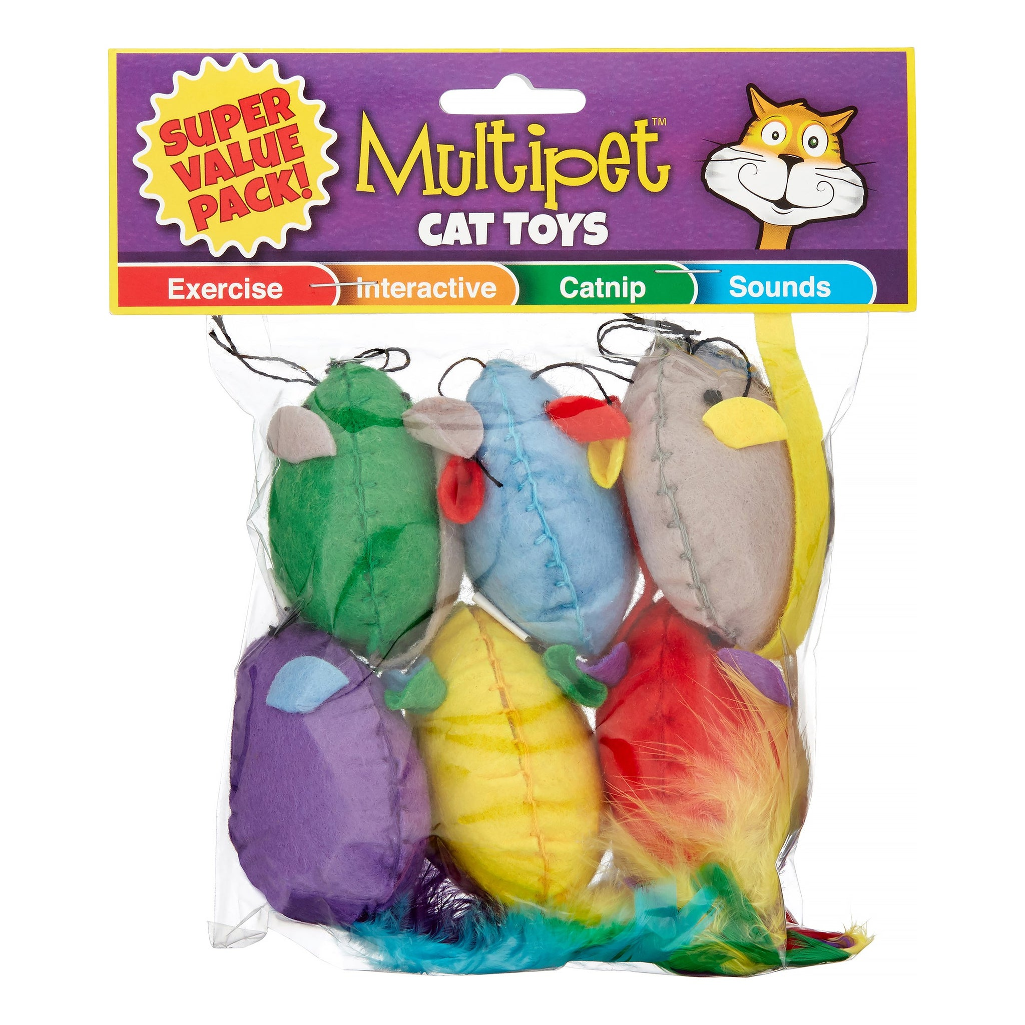MultiPet Stitch Mice Catnip Cat Toy, 6 Count