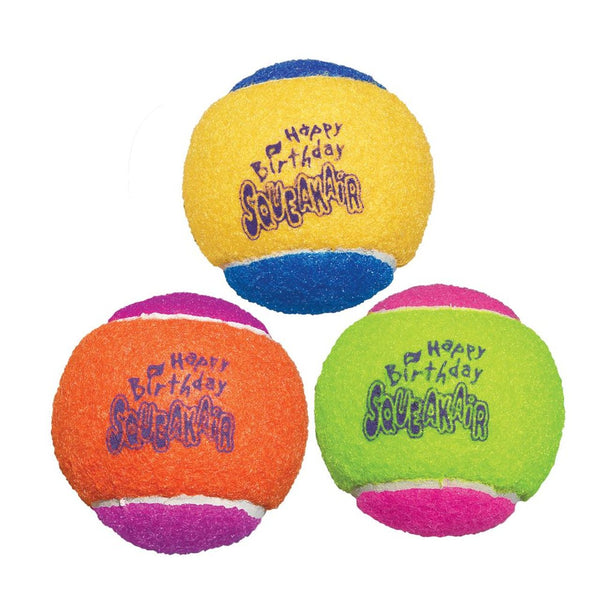 KONG AirDog Squeakair Happy Birthday Balls (Assorted 3 Pack)