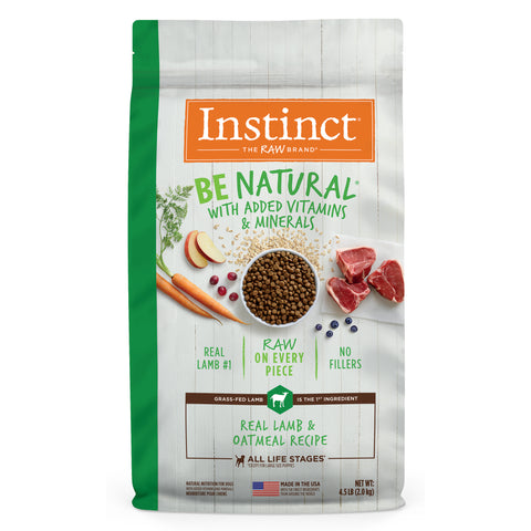 Instinct Be Natural Real Lamb & Oatmeal Recipe Freeze-Dried Raw Coated Dry Dog Food
