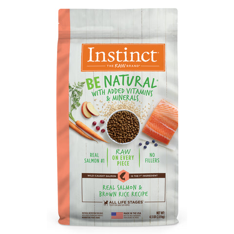 Instinct Be Natural Real Salmon & Brown Rice Recipe Freeze-Dried Raw Coated Dry Dog Food