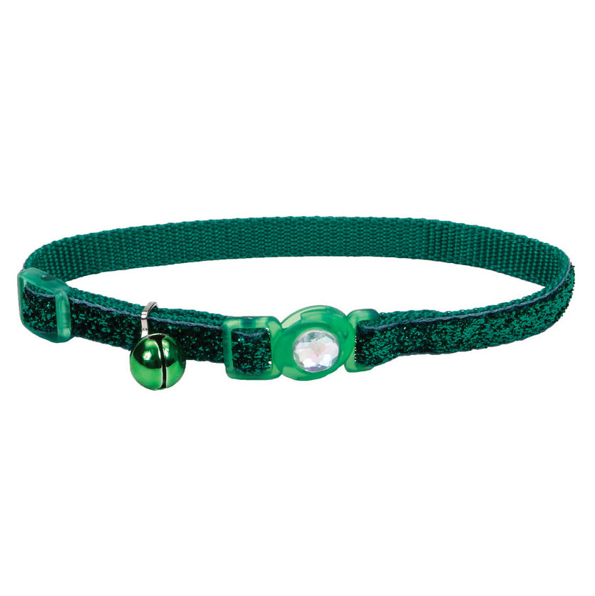 Coastal Pet Products Safe Cat® Jeweled Buckle Adjustable Breakaway Cat Collar with Glitter Overlay in Green