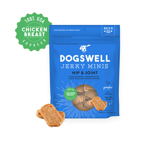 Dogswell Minis Hip & Joint Chicken Jerky Recipe Grain-Free Dog Treats