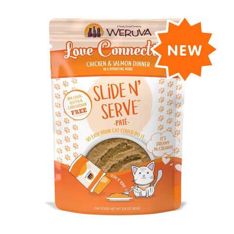 Weruva Slide N' Serve Love Connection Chicken & Salmon Dinner Pate Grain-Free Cat Food Pouch