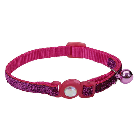 Coastal Pet Products Safe Cat® Jeweled Buckle Adjustable Breakaway Cat Collar with Glitter Overlay in Pink