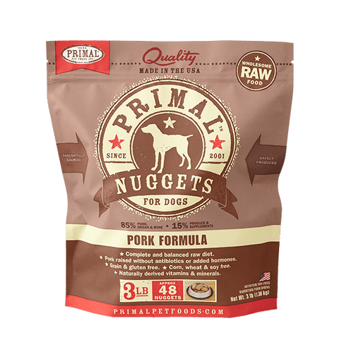 Primal Raw Frozen Canine Pork Formula Nuggets Dog Food
