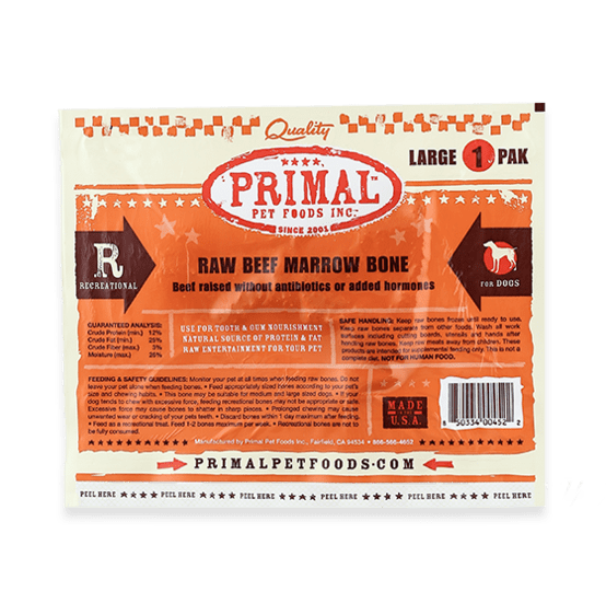 Primal Raw Recreational Beef Marrow Bone (Large Size)