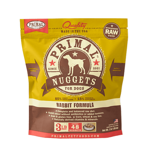 Primal Raw Frozen Canine Rabbit Formula Nuggets Dog Food