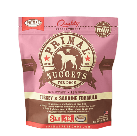 Primal Raw Frozen Canine Turkey & Sardine Formula Nuggets Dog Food