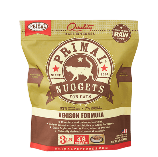 Primal Raw Frozen Feline Venison Formula Nuggets Cat Food
