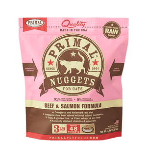 Primal Raw Frozen Feline Beef & Salmon Formula Nuggets Cat Food